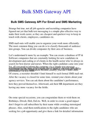 Bulk SMS API effective for Expand your Business