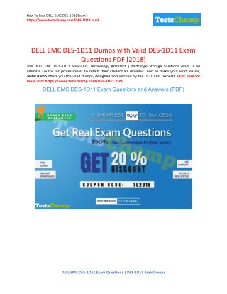 Pass With Guarantee Dell EMC DES-1D11 Exam