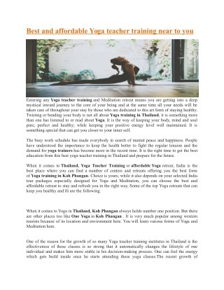 Best and affordable Yoga teacher training near to you