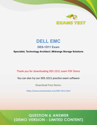 Get Dell EMC DES-1D11 VCE Exam PDF 2018 - [DOWNLOAD and Prepare]