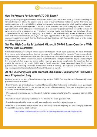 Try These Microsoft SQL Server 70-761 Exam Actual Questions