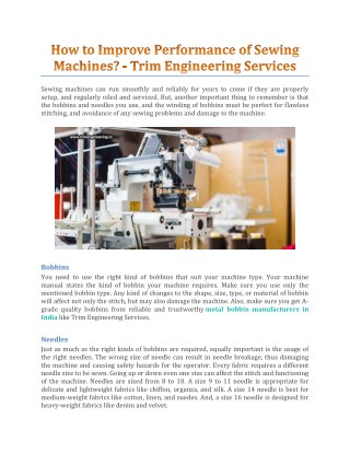 How To Improve Performance Of Sewing Machines? - Trim Engineering Services
