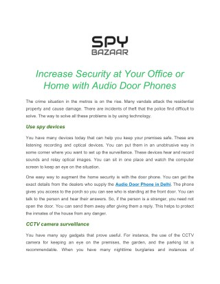 Increase Security at Your Office or Home with Audio Door Phones