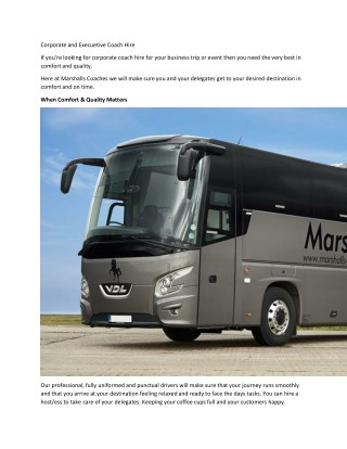 Corporate and Execuetive Coach Hire