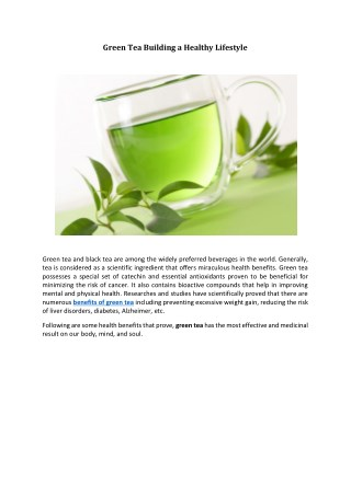 Green Tea Building a Healthy Lifestyle