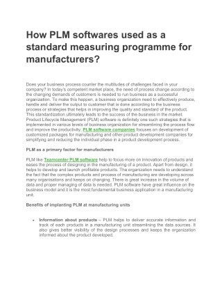 How PLM softwares used as a standard measuring programme for manufacturers?