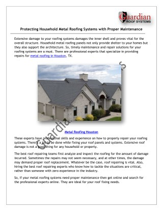 Protecting Household Metal Roofing Systems with Proper Maintenance