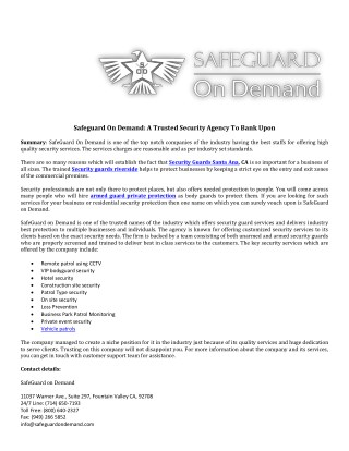 Safeguard On Demand: A Trusted Security Agency To Bank Upon