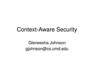 Context-Aware Security