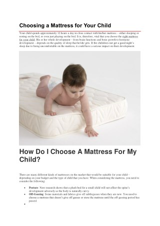 Choosing a Mattress for Your Child