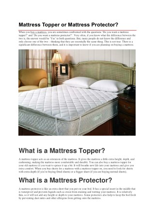 Mattress Topper or Mattress Protector?