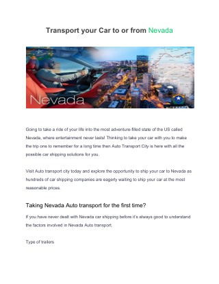 Transport your car to or from Nevada