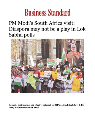 PM Modi's South Africa visit: Diaspora may not be a play in Lok Sabha polls