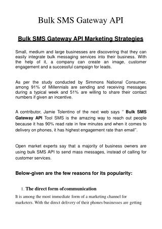 Bulk SMS Gateway API provide direct form of communication