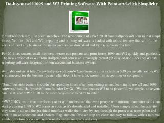 Do-it-yourself 1099 and W2 Printing Software With Point-and-