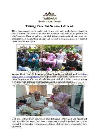 Taking Care for Senior Citizens
