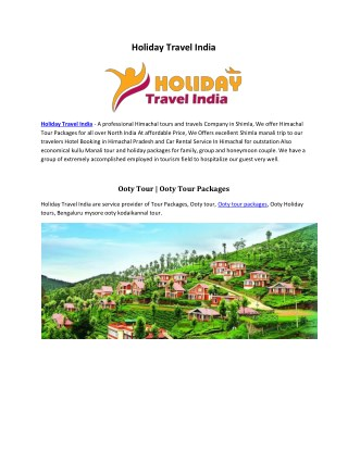 Holiday Travel India - A professional Himachal tours and travels Company in Shimla | www.holidaytravelindia.in