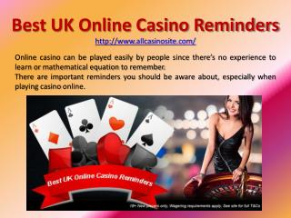 Best UK Online Casino Reminders