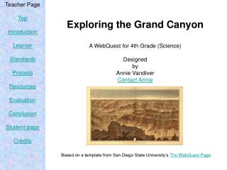 Exploring the Grand Canyon A WebQuest for 4th Grade (Science) Designed by Annie Vandiver Contact Annie