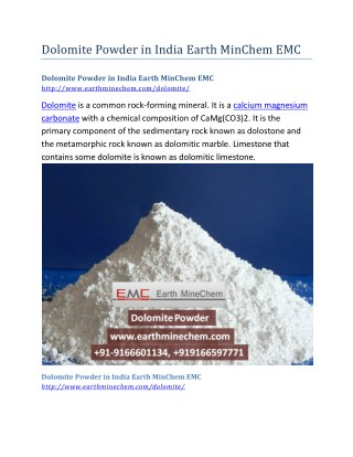 Dolomite Powder in India Earth MinChem EMC
