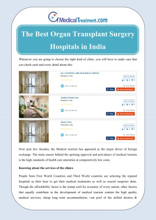 The best organ transplant surgery hospitals in India