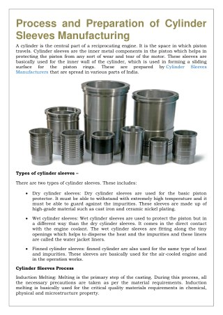 Process and Preparation of Cylinder Sleeves Manufacturing