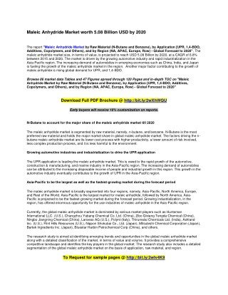 Maleic Anhydride Market worth 5.08 Billion USD by 2020
