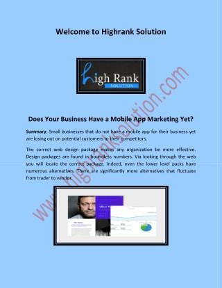 Mobile app maintenance, mobile app marketing at highranksolution.com
