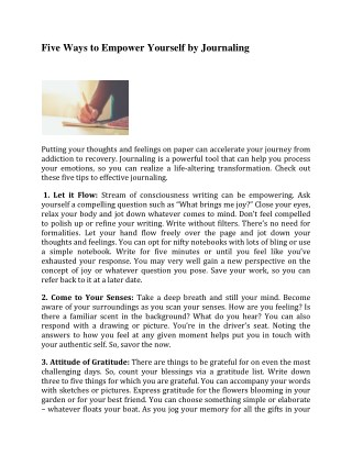 Five Ways to Empower Yourself by Journaling