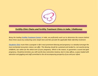 Fertility Clinic Chains and Fertility Treatment Clinics in India | ElaWoman