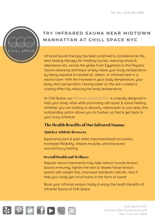 Try Infrared Sauna near Midtown Manhattan at Chill Space NYC
