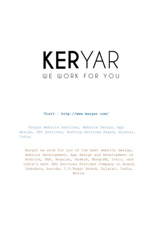Keryar Website making, Website Design, App design, SEO Services, Hosting services Anand, Gujarat, India.