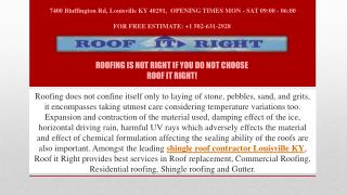 Roofing Is Not Right If You Do Not Choose Roof IT Right!