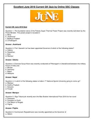 Excellent June 2018 Current GK Quiz by Online SSC Classes