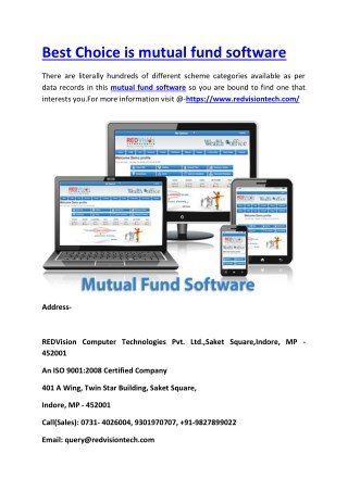 Best Choice is mutual fund software