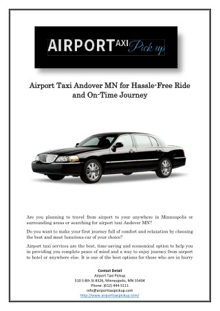 Airport Taxi Andover MN for Hassle-Free Ride and On-Time Journey