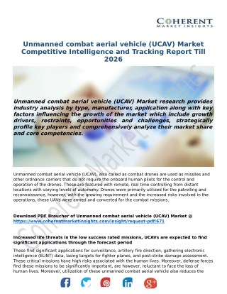 Unmanned Combat Aerial Vehicle (UCAV) Market Analysis, Segment, Trends and Forecasts, 2018-2026: Coherent Market Insight