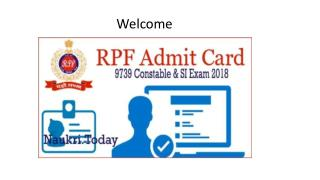 RPF Admit Card 2018 - Download RPF Constable & SI Call Letter 2018