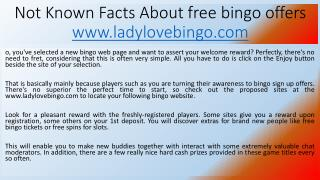 Not Known Facts About free bingo offers