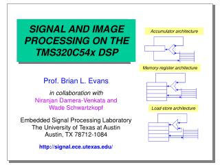 SIGNAL AND IMAGE PROCESSING ON THE TMS320C54x DSP