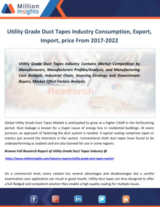 Utility Grade Duct Tapes Industry Capacity, Production, Specification From 2017-2022