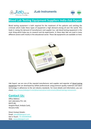Blood Lab Testing Equipment Suppliers India-Jlab Export