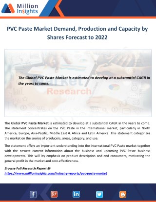 PVC Paste Market Demand, Production and Capacity by Shares Forecast to 2022
