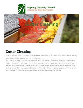 Gutter Cleaning Service in London-Regency Cleaning Limited