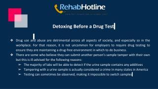 Detoxing Before a Drug Test