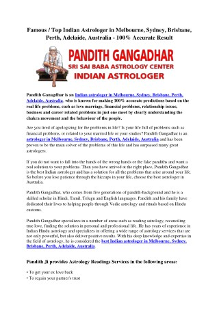 Famous / Top Indian Astrologer in Melbourne, Sydney, Brisbane, Perth, Adelaide, Australia - 100% Accurate Result
