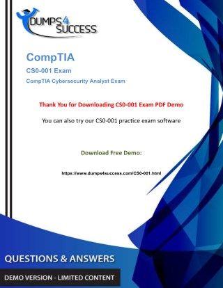 CySA  CS0-001 Dumps Questions - CompTIA Cyber Security [CS0-001] Exam Question