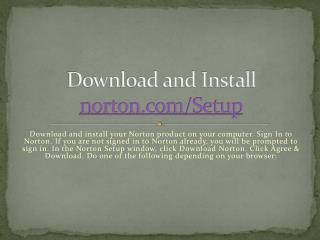 Download and install Norton Setup