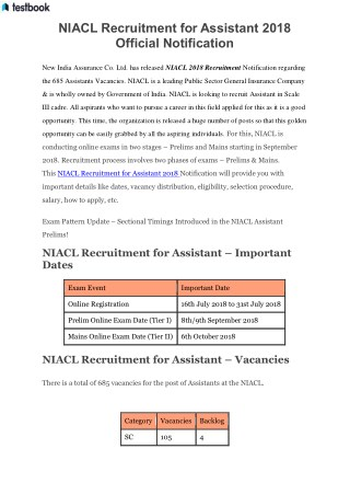 NIACL Recruitment for Assistant 2018 Official Notification
