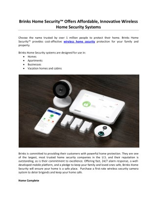 "Brinks Home Securityâ""¢ Offers Affordable, Innovative Wireless Home Security Systems"